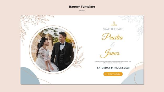 Sjabloon voor spandoek voor huwelijksceremonie met bruid en bruidegom