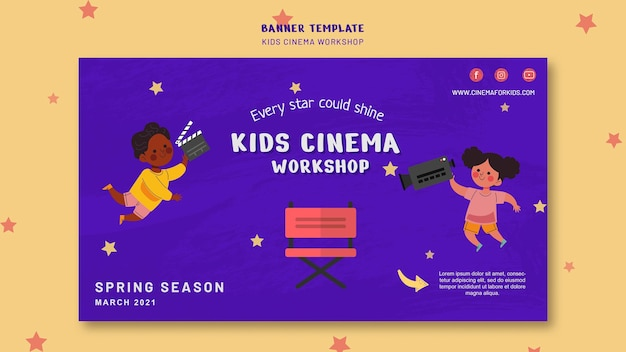 Sjabloon voor spandoek voor kinderen bioscoop