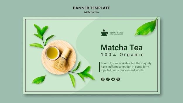 Sjabloon voor spandoek voor matcha-thee
