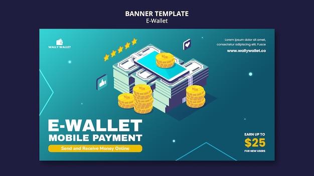 Sjabloon voor spandoek voor moderne e-wallets