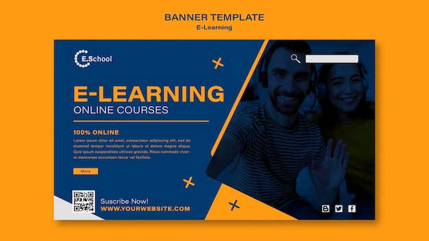 Sjabloon voor spandoek voor online cursussen voor e-learning