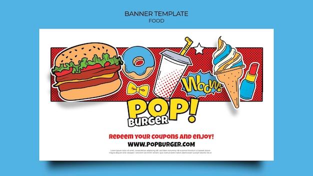 Sjabloon voor spandoek voor pop-art eten