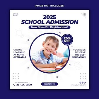 Sjabloon voor spandoek voor schooltoelating instagram