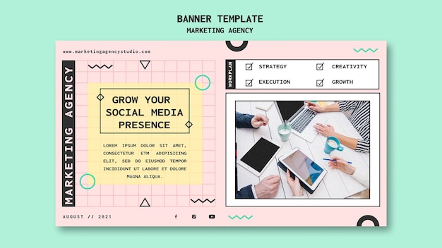 Sjabloon voor spandoek voor social media marketingbureau