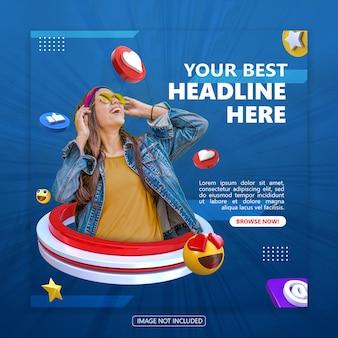 Sjabloon voor spandoek voor sociale media met 3d-objectweergave premium psd