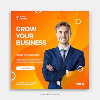 Sjabloon voor spandoek voor sociale media met uw bedrijfsconcept laten groeien digitale marketing instagram-post