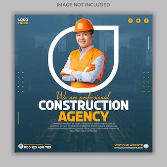 Sjabloon voor spandoek voor sociale media voor bouwbureaus