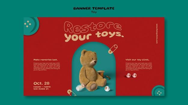 Sjabloon voor spandoek voor speelgoedrestauraties