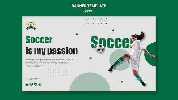 Sjabloon voor spandoek voor voetbalcompetitie voor vrouwen