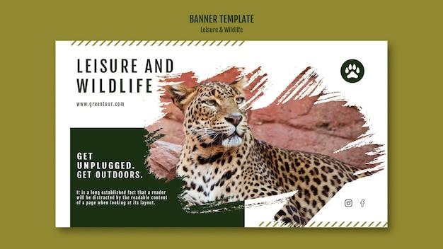 Sjabloon voor spandoek voor vrije tijd en dieren in het wild