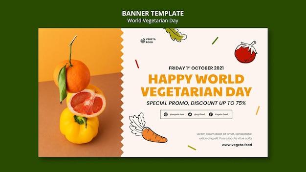 Sjabloon voor spandoek voor wereldvegetarische dag