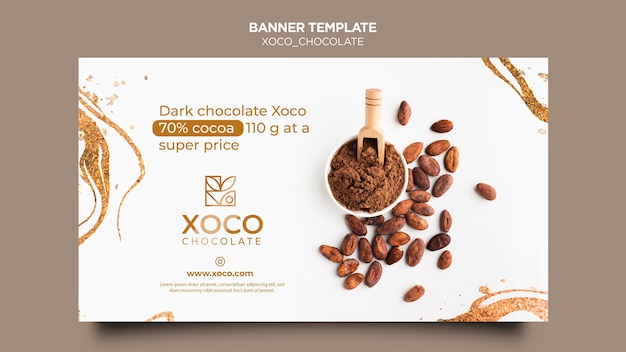 Sjabloon voor spandoek xoco chocolade
