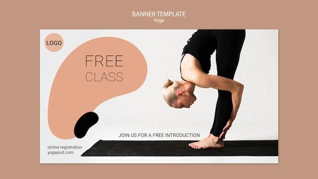 Sjabloon voor spandoek yoga met meisje