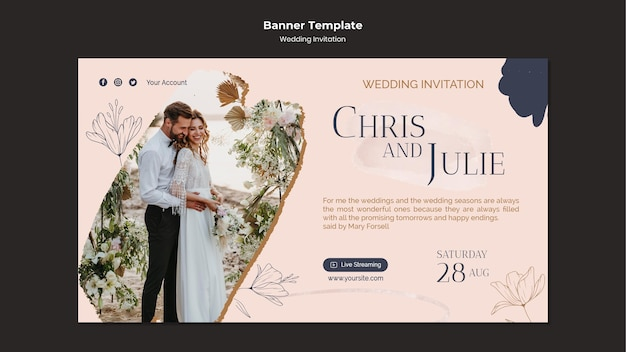 Sjabloon voor spandoekontwerp voor bruiloft