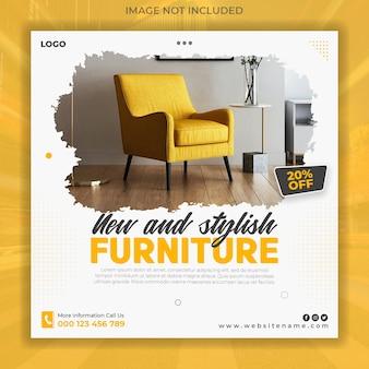Sjabloon voor spandoeksjabloon voor moderne meubels voor sociale media-promotie