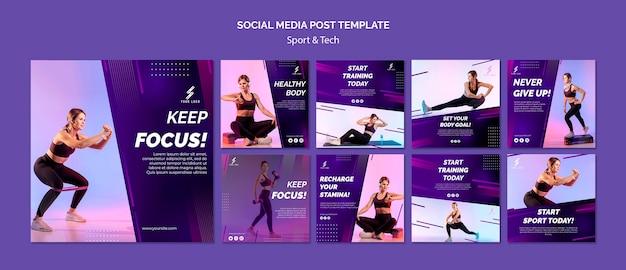 Sjabloon voor sport- en tech-berichten op sociale media