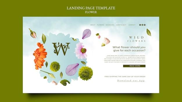 Sjabloon voor startpagina van bloemenwinkel