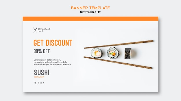 Sjabloon voor sushi restaurant horizontale spandoek