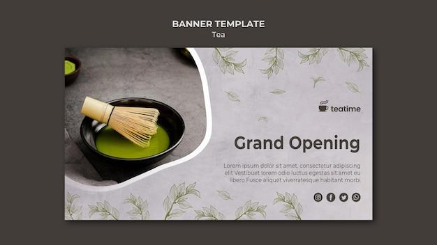Sjabloon voor thee grand opening spandoek