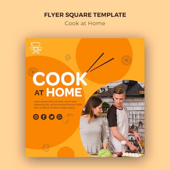 Sjabloon voor thuis vierkante flyer koken