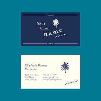 Sjabloon voor tropische visitekaartjes psd in blauwe tint