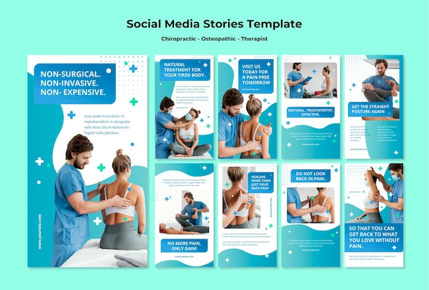 Sjabloon voor verhalen over osteopathie op sociale media