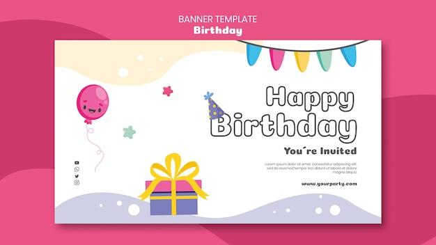 Sjabloon voor verjaardagsviering horizontale spandoek