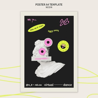 Sjabloon voor verticale poster voor neonfeest