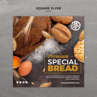 Sjabloon voor vierkante flyer brood