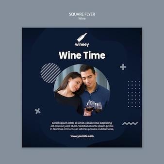 Sjabloon voor vierkante flyer met paar voor wijnmakerij
