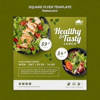 Sjabloon voor vierkante flyer voor gezond voedselrestaurant