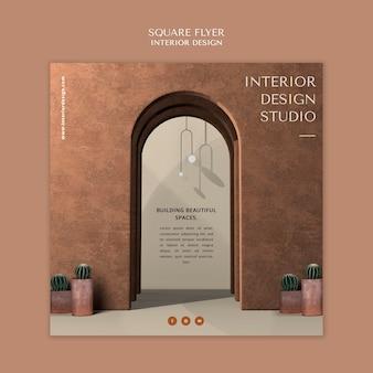Sjabloon voor vierkante flyer voor interieurontwerp