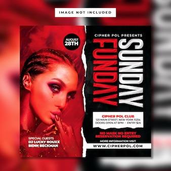 Sjabloon voor vierkante flyer voor nachtclubfeest