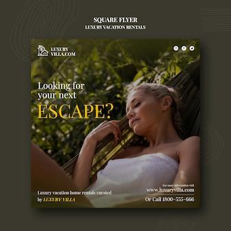 Sjabloon voor vierkante flyers voor luxe vakantieverblijven