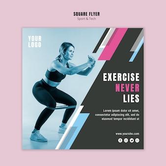 Sjabloon voor vierkante folders voor sport en fitness