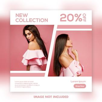 Sjabloon voor vierkante spandoek, mooi meisje fashion model roze