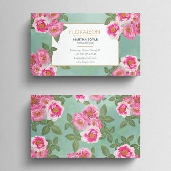 Sjabloon voor vintage bloemen visitekaartjes