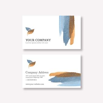 Sjabloon voor visitekaartjes met aquarel brustrokes