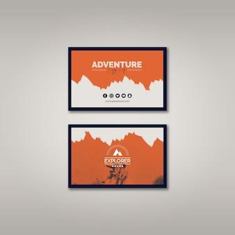 Sjabloon voor visitekaartjes met avontuur concept