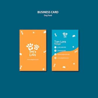 Sjabloon voor visitekaartjes met hondenvoer thema
