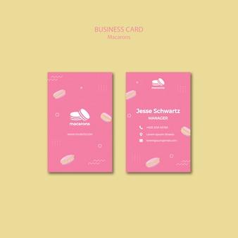 Sjabloon voor visitekaartjes met macarons concept