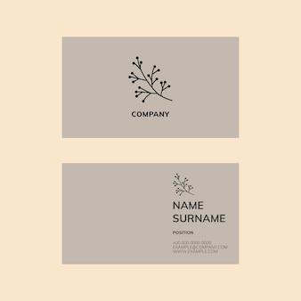Sjabloon voor visitekaartjes psd in flatlay grijstinten