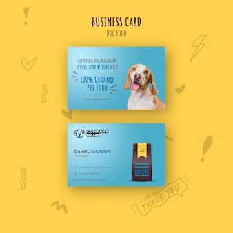 Sjabloon voor visitekaartjes van biologisch voedsel voor huisdieren