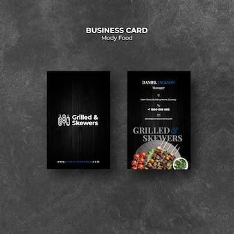 Sjabloon voor visitekaartjes van gegrilde spiesjes restaurant