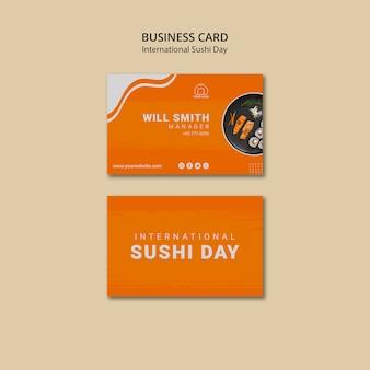 Sjabloon voor visitekaartjes van internationale sushi-dag