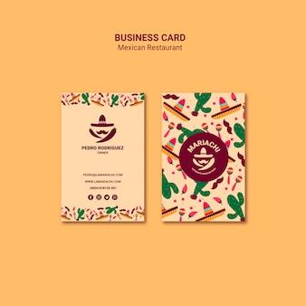 Sjabloon voor visitekaartjes van mexicaans restaurant
