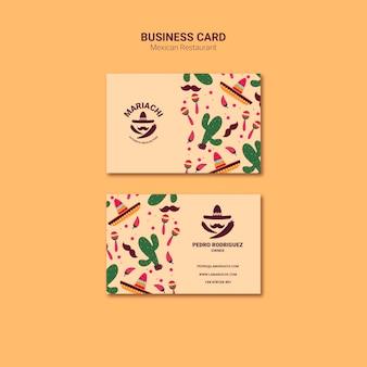 Sjabloon voor visitekaartjes van mexicaanse traditionele gerechten restaurant