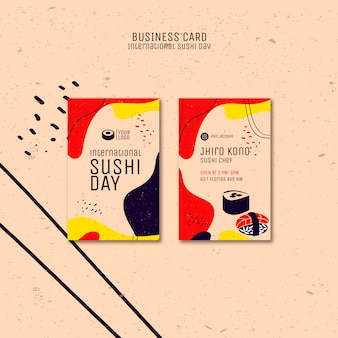 Sjabloon voor visitekaartjes van sushi-dag