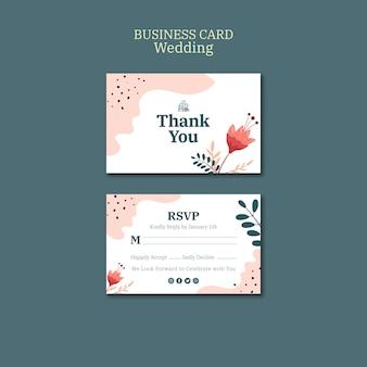 Sjabloon voor visitekaartjes voor bruiloft met bloemen