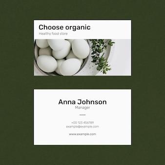 Sjabloon voor visitekaartjes voor eten psd in voor- en achteraanzicht
